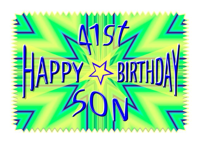 Son 41st Birthday Starburst Spectacular Card Ad Ad St Son Birthday Card Birthday Cards For Son Graduation Invitations Template 16th Birthday