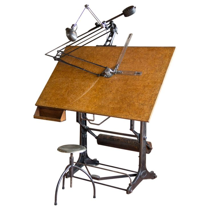 Oldor Industrial Drafting Table and Stool   Spain   Early 20th Century