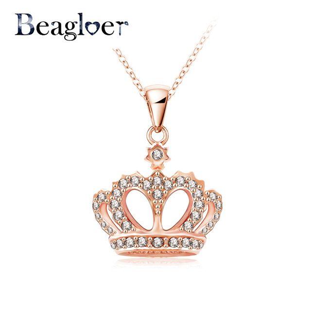 Beagloer царской Короны Ожерелье Настоящее Розовое Золото Цвет Кристалл Ожерелье Подлинная SWA Элементы Ожерелье NL0290-A