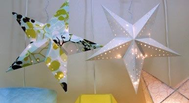 Make your own star paper lamp.  Very cool and very easy!  Template inside