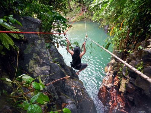 Zip-lining things at Paria Waterfall, Trinidad and Tobago