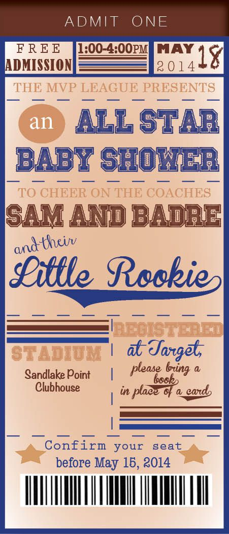 Sports themed baby shower. Boy shower All custom baby shower invites!  manderson@ncadirect.com