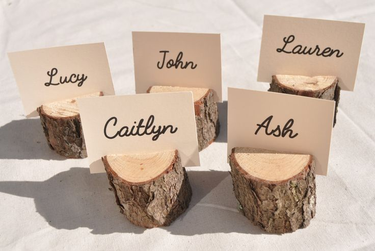 20 Wood Place Card Holders, rustic place card holders with bark for rustic wedding decor table supplies by Stringybarksupplies on Etsy https://www.etsy.com/ca/listing/266490805/20-wood-place-card-holders-rustic-place