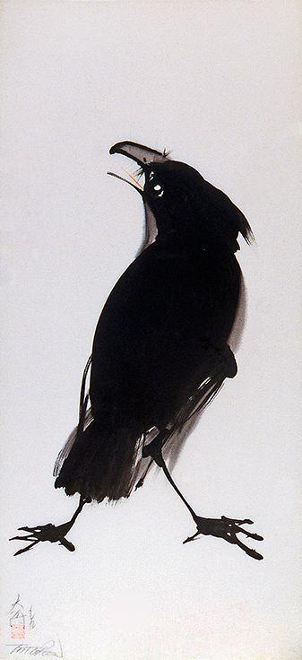 Tai Poon, raven, silk painting