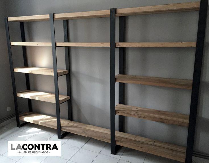 Estanterias fabricadas a mano con maderas: Pino de Flandes, Reciclada Joven…