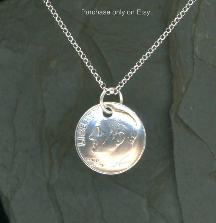 1963 Silver Dime Pendant Sterling Chain Necklace 55th Birthday Gift 55th Anniversary Gift by WvWorksJewelry on Etsy