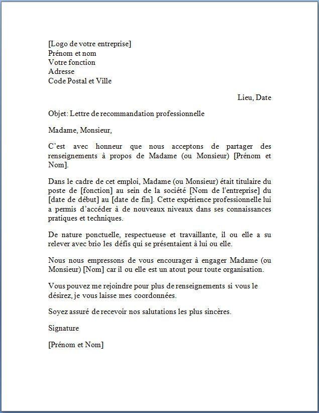 Lettre De Recommandation Professionnelle Jpg 635 822 Job Application Cover Letter Application Cover Letter Job Cover Letter