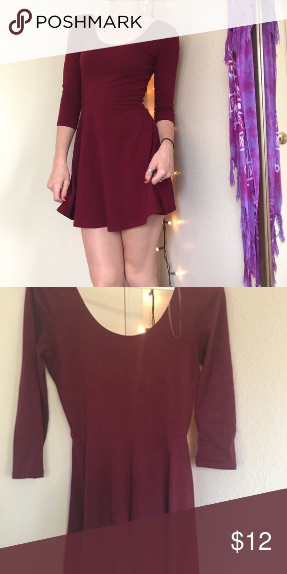 Maroon skater dress So comfy!! Cute dressed up with boots and scarf or jacket or just with converse Charlotte Russe Dresses Mini