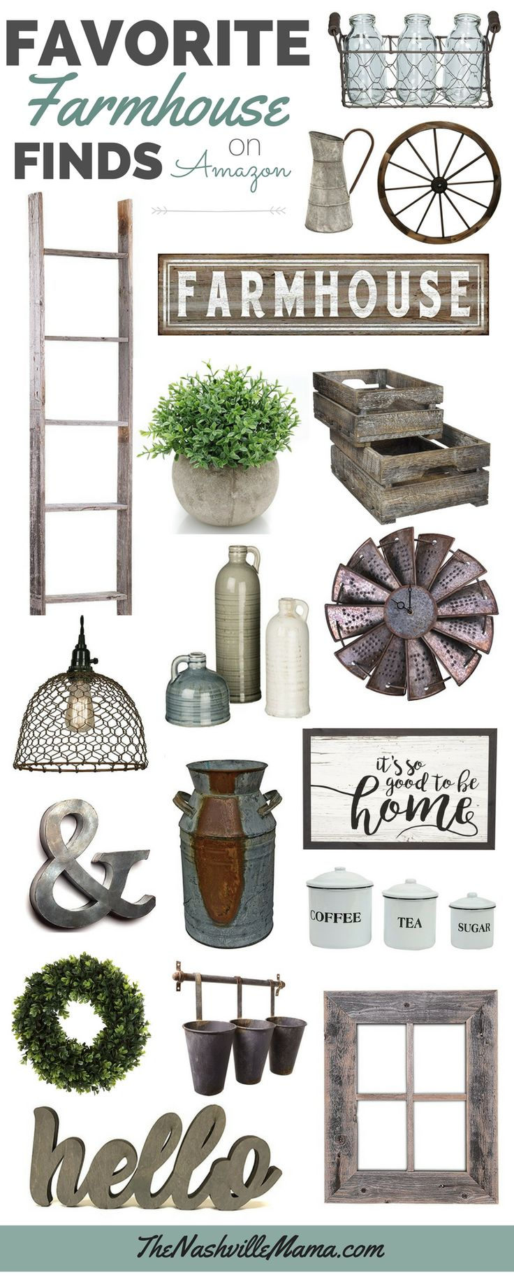 Favorite Farmhouse home decor on Amazon. Fixer Upper style. Rustic Vintage decor.