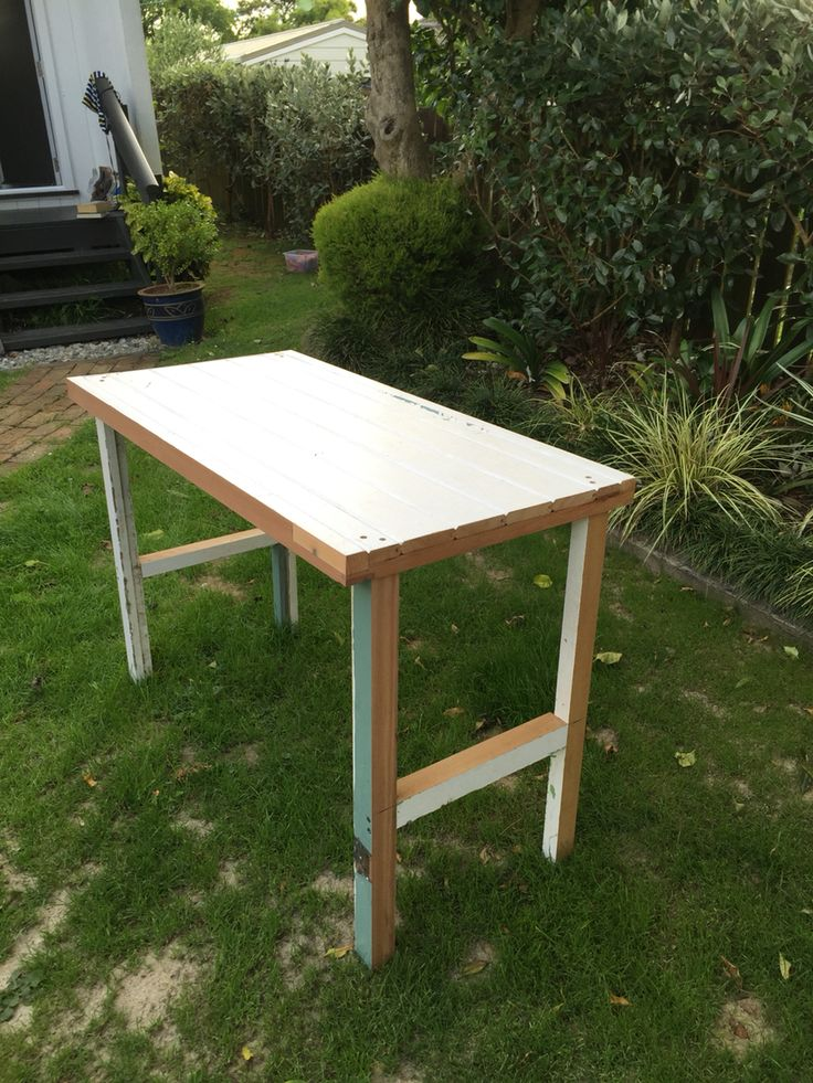 Tongue and grove door made into a desk.