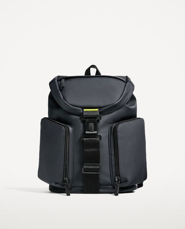 Image 1 Of Navy Blue Rubberised Backpack From Zara Man Bagsbag