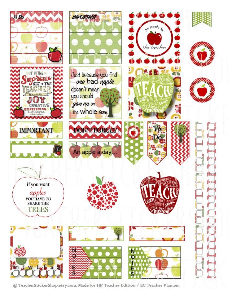 Apple Teacher Stickers PRINTABLE - made especially for the Erin Condren and Happy Planner Teacher Planners! From teacherstickershop.etsy.com