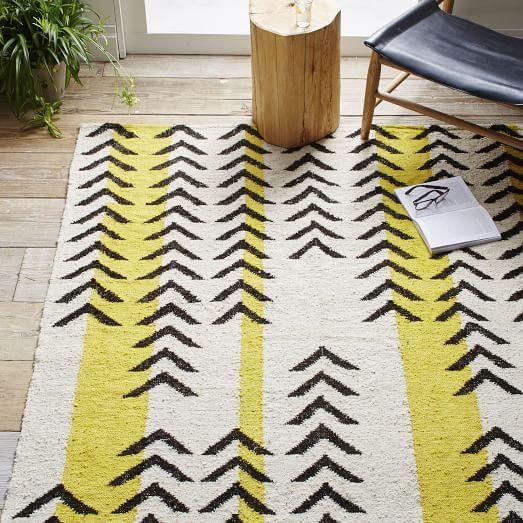 Arrow Stripe Dhurrie Rug, Sun Yellow, 2.5'x7'
