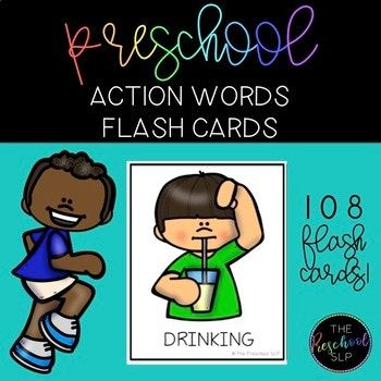 Includes 108 Full Color Flash Cards of all different action words. Can be paired with any activity to teach action word vocabulary and grammar including pronouns, auxiliary verbs, present progressive verb tense and adjectives. VERBS: melting, coughing, shoveling, building, drinking, eating, blowing, sitting, standing, waving, running, reading, sleeping, playing, jumping, pointing, painting, hugging, walking, kicking, sipping, licking, watering, sweating, cooking, ironing, vacuuming, washing…