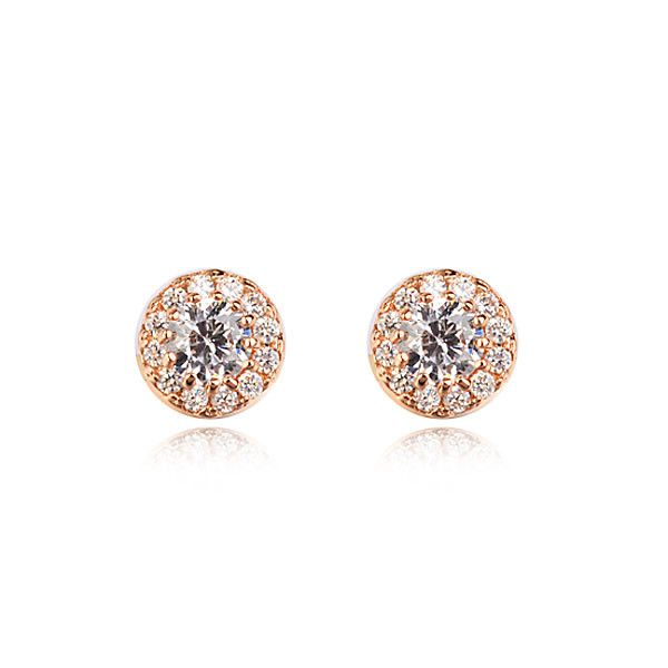 Earrings - Platinum or 18K Rose Gold Plated, AAA-Rated Cubic Zirconia Studs