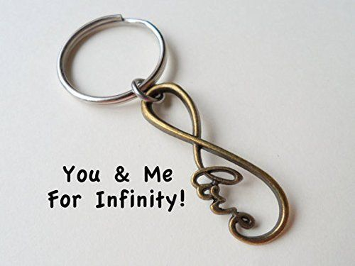Bronze Infinity Love Symbol Keychain You And Me For 8 Year Aniversary Gift
