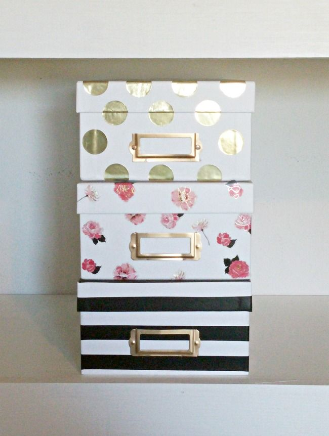 *These would be cute storage boxes on a bookshelf. Easy Kate Spade Inspired Storage Boxes