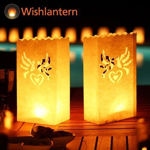 Wishlantern® - Pack of 5 Candle Bags (Dove Design) by Wishlantern®. $4.99. Does not include tealights or sand. WishLantern® Candle Bags are fire resistant on both sides. Fill with sand and a tealight for a great lighting effect. Original Dove effect on both sides of the Candle Bags. Candle Bags for Outdoor Lighting. Candle Bags from WishLantern® Create an absolute stunning atmosphere with our new range of Wish Lantern Candle Bags with a stunning Dove design on two sides.    ...