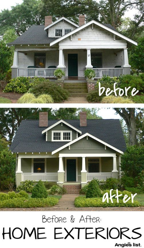 147 best images about bungalow exterior color schemes on pinterest exterior colors paint for Before and after home exteriors remodels