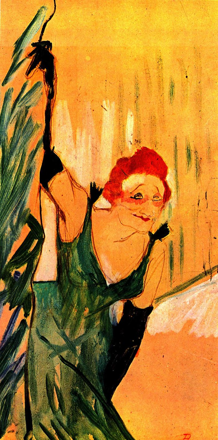 Анри де Тулуз-Лотрек. Иветт Гильбер на поклонах. 1894 г. Гуашь, картон. 48 x 28 см Музей Тулуз-Лотрека, Альби.
