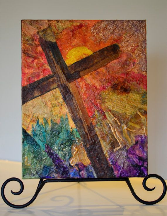 Colorful Religious Art, Vibrant and Joyful Blessings Mixed Media Collage, Cross Wall Art for your Home Decor, Jesus Art, Glory of the Cross