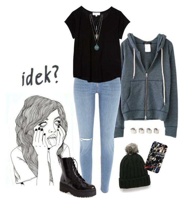 """""""idek?"""" by kcrxx ❤ liked on Polyvore featuring River Island, Jeffrey Campbell, MANGO, The Lady & The Sailor, Maison Margiela, Boots, rippedjeans, beanie, hoodie and Tshirt"""