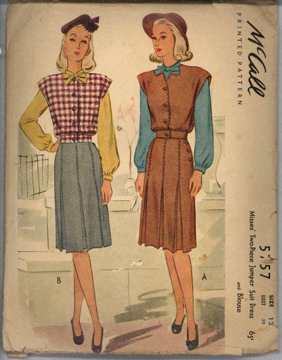 1940s Jumper Suit Dress Blouse McCalls 5757 by VintagePatternsCo1, $14.99