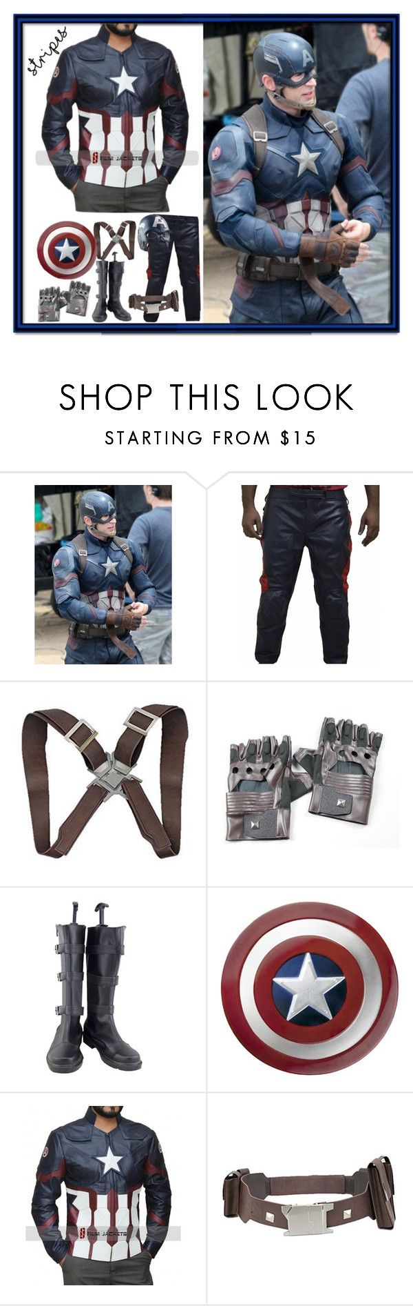 """Captain America Civil War Costume Jacket"" by fjackets ❤ liked on Polyvore featuring men's fashion et menswear"