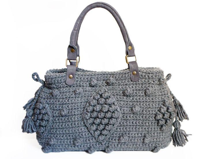 designer purse sale zn4e  20 / Crocheted Handbag, Gray Bag