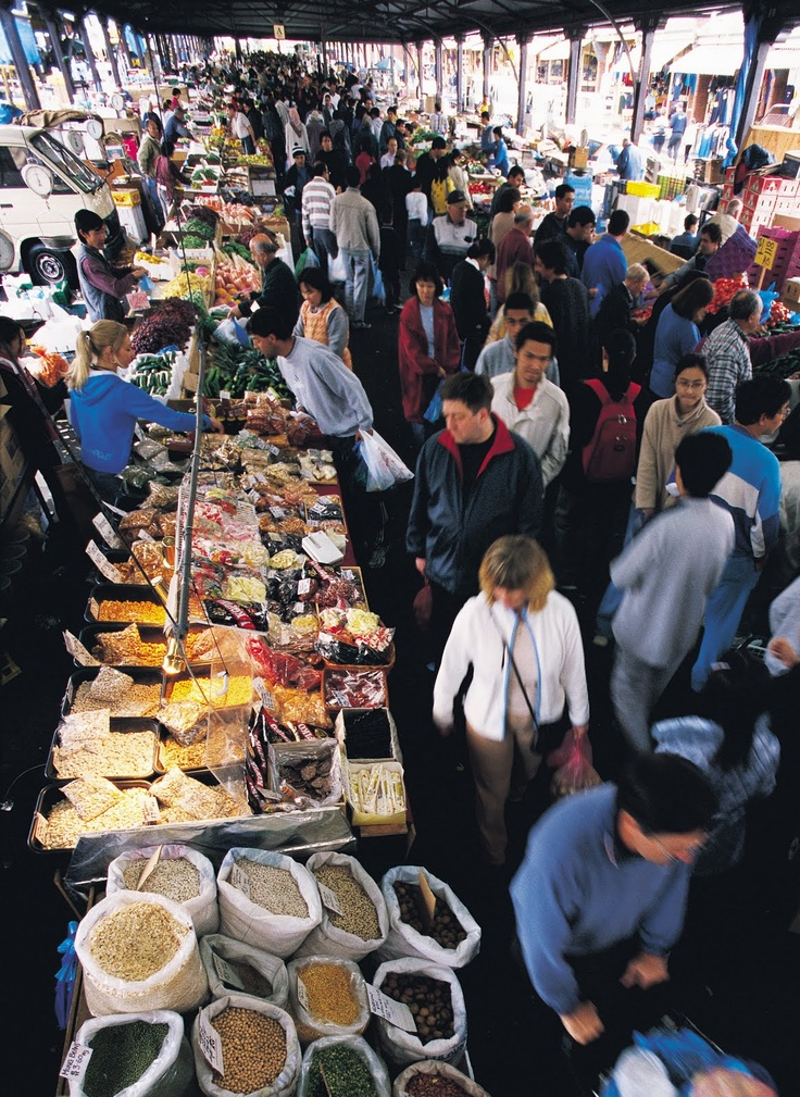QUEEN VICTORIA MARKETS- Wonder the endless stalls, eat a foreign cuisine from one of the many food stalls or get yourself a souvenir to take back home. Between William and Queen St Melbourne.