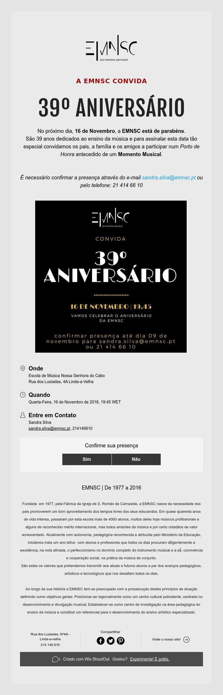 16 de Novembro | 39º Aniversário da EMNSC