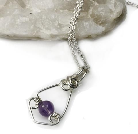 Amethyst Gemstone Sterling Wire wrapped Pendant KTC-177 - Kalitheo Creations