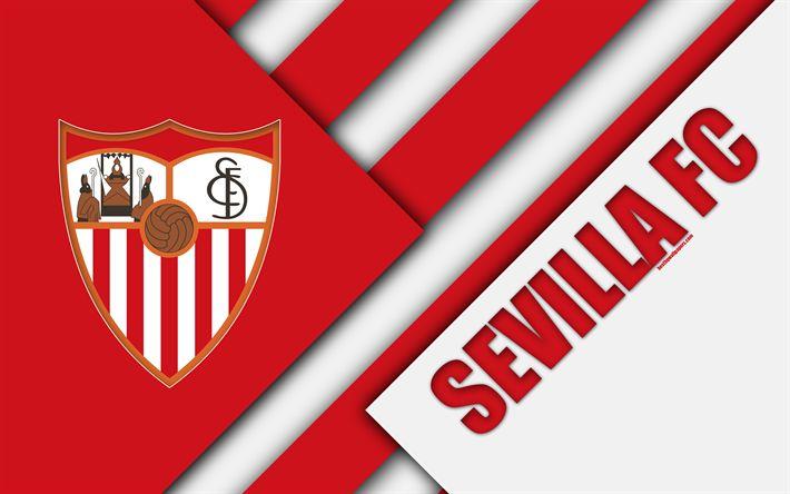 Download wallpapers Sevilla FC, 4K, Spanish football club, logo, material design, white red abstraction, football, La Liga, Sevilla, Spain