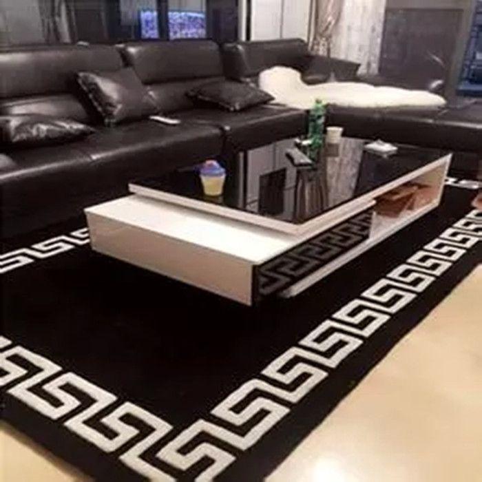 Soggiorno creativo Tappeto : nero Acrilico tappeto alfombras tappeti Fatti A Mano Moderno soggiorno ...