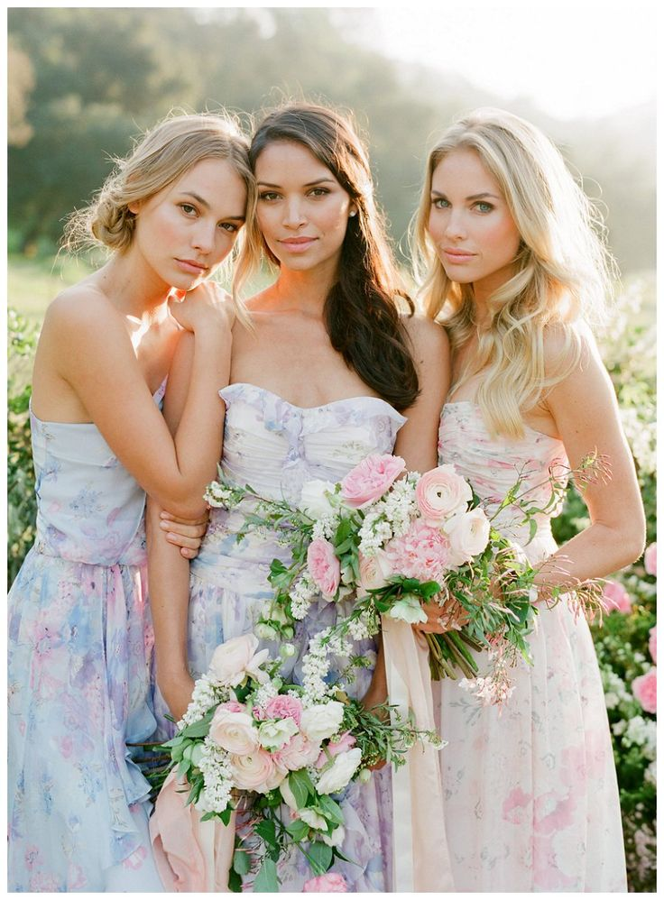 Floral bridesmaid dresses by PPS Couture by Plum Pretty Sugar. Image by Jose…