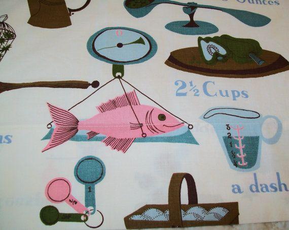 2 Midcentury Kitchen Curtains valance midcentury by BlueSkyLane, $17.99