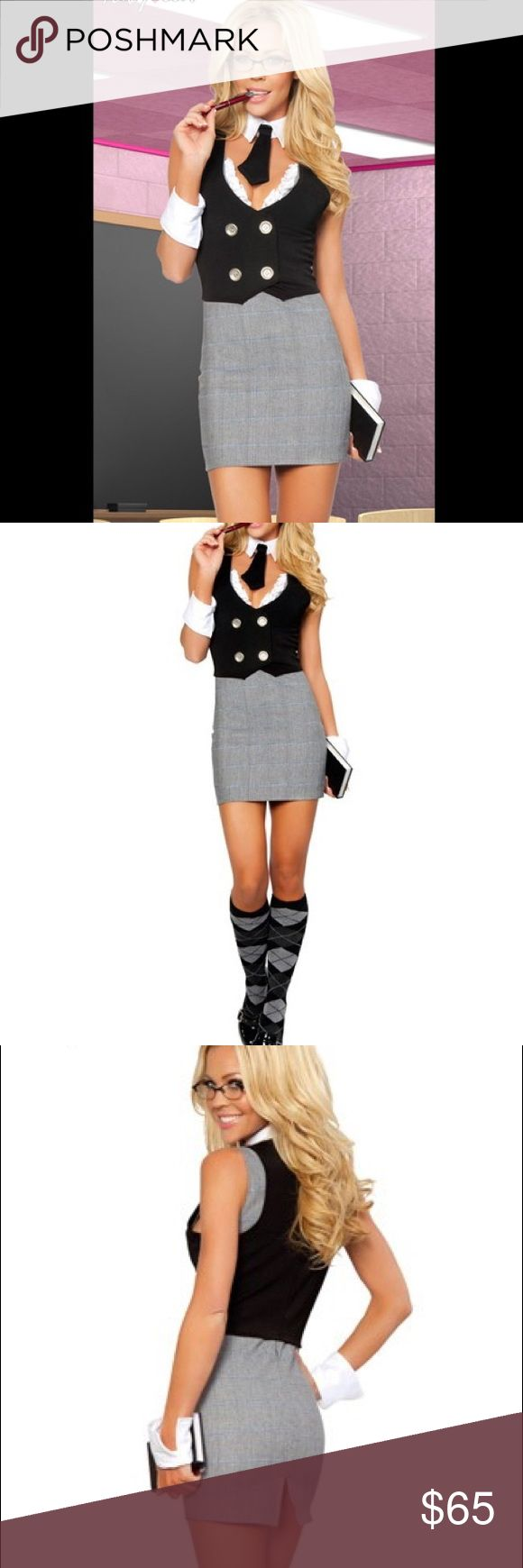 NEW Sexy Librarian Halloween Costume Small Medium Sexy librarian costume lingerie by ROMA. Unworn in original packaging. Includes dress, vest, tie, cuffs and also the matching knee socks which are sold separately . Packaging states size is small/medium roma Other
