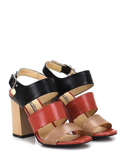 Fiori Francesi - Sandalo alto - Donna - Sandalo alto in pelle con cinturino su collo piede e suola in cuoio. Tacco 100. - NUDO\NERO\MATTONE