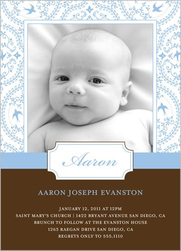 Embroidery In Blue Baptism Invitation