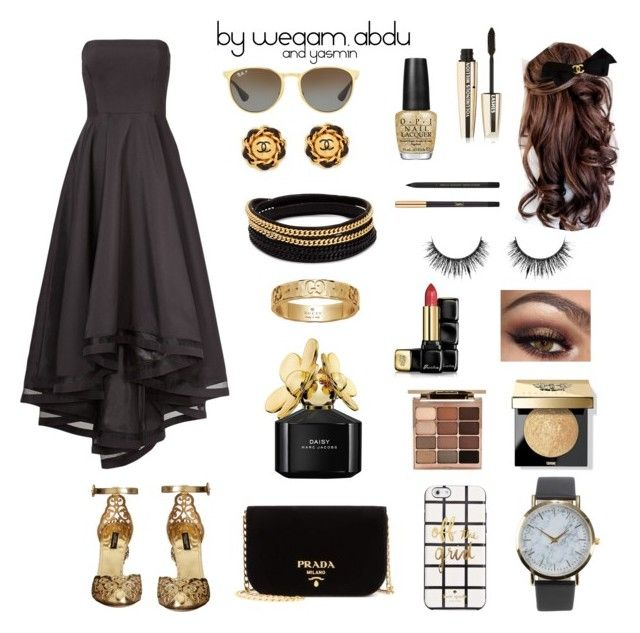 """black. gold."" by weaam-abdu on Polyvore featuring Dolce&Gabbana, Prada, Vita Fede, Gucci, Guerlain, L'Oréal Paris, Bobbi Brown Cosmetics, Yves Saint Laurent, Stila and Chanel"