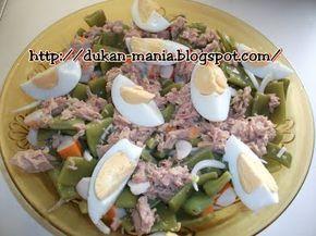 Judía tierna, atún, huevo duro y palitos de cangrejo. Dukan crucero