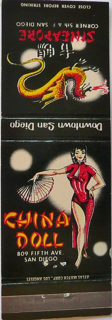 CHINA DOLL & THE SINGAPORE SAN DIEGO CALIF by ussiwojima, #frontstriker 20 stem Paper #MatchBook Full Color printed Cover Stock. To order your business' own branded #advertisingmatches. goto: www.GetMatches.com or call 800.605.7331 Today!