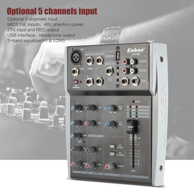 5 Channels Music Audio Mixer Mixing Console 2-Band EQ with USB XLR LINE Input 48V Phantom Power for Recording DJ Stage Karaoke