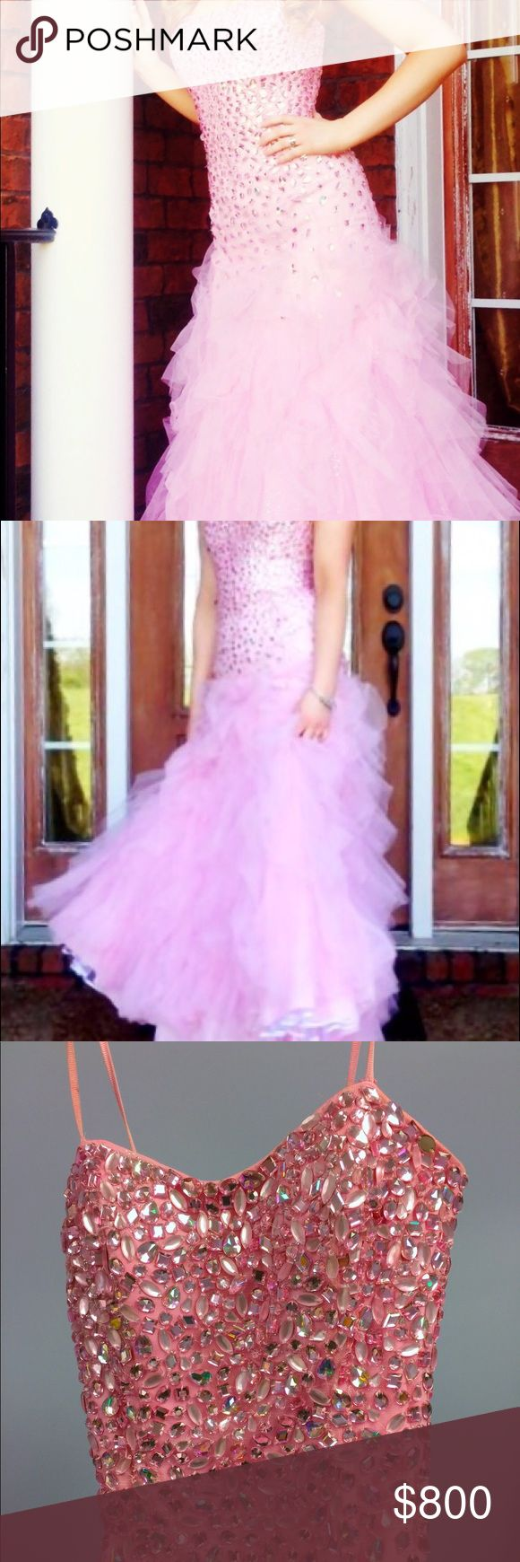 Sherri Hill prom/formal dress This dress is perfect for the girl who wants to feel like a princess on her special night! It's pink with a fitted bodice and full skirt. The bodice is embellished with mirrored beading. The skirt has crystals dusted throughout. It really sparkles! The dress has spaghetti straps. It was a size 8 but was altered so it's more like a size 6 now. With alterations, this dress cost more than $1,000. There are some spray tan marks (pictured) on the inside of bodice…