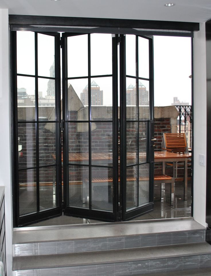 Advantages of installing folding doors steel windows and for Black french doors exterior