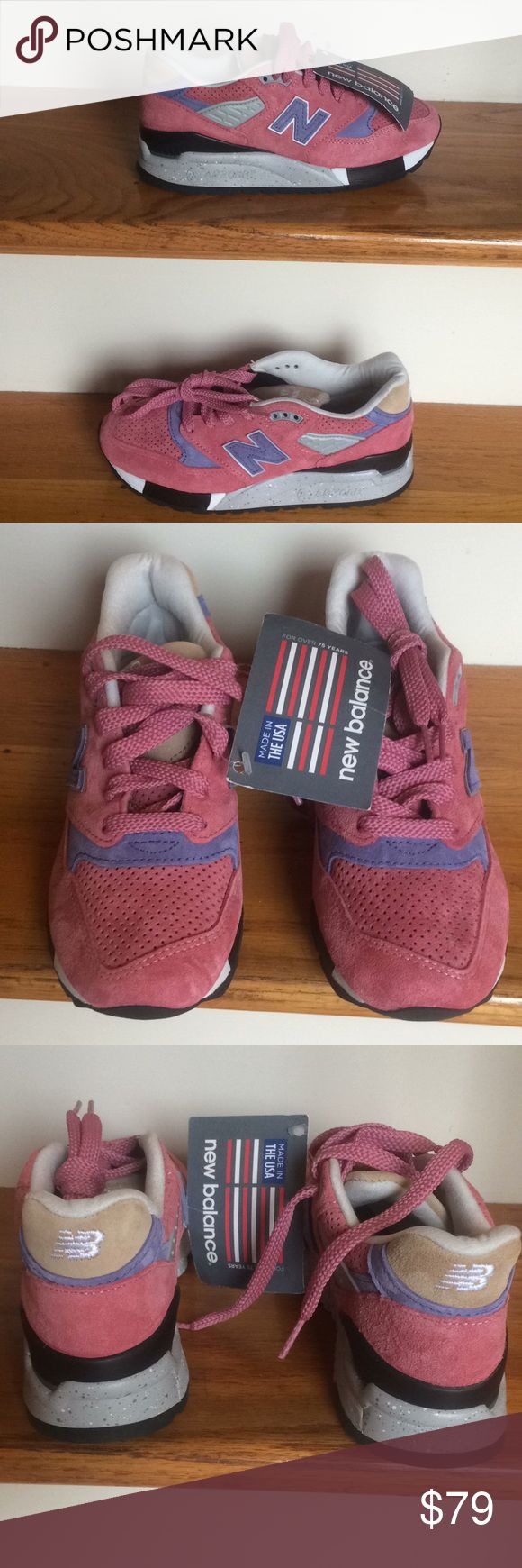 """New with tags, New Balance ABZORB 998 Sneakers New with tags, high quality premium pink suede with mauve""""N"""". Gripped rubber soles are enhanced with ABZORB cushioning. B width. No box. New Balance Shoes Sneakers"""