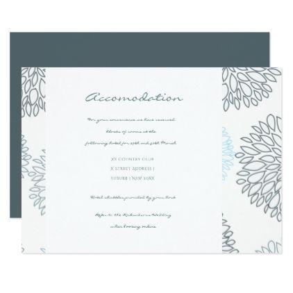 #wedding - #SHADES OF BLUE DAHLIA FLORAL PATTERN ACCOMODATION CARD