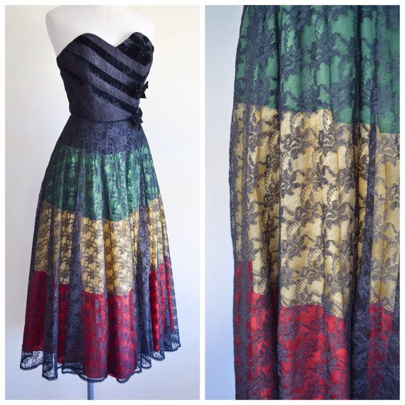 1940s Black lace full length strapless gown / 40s red green yellow stripe evening dress - XS