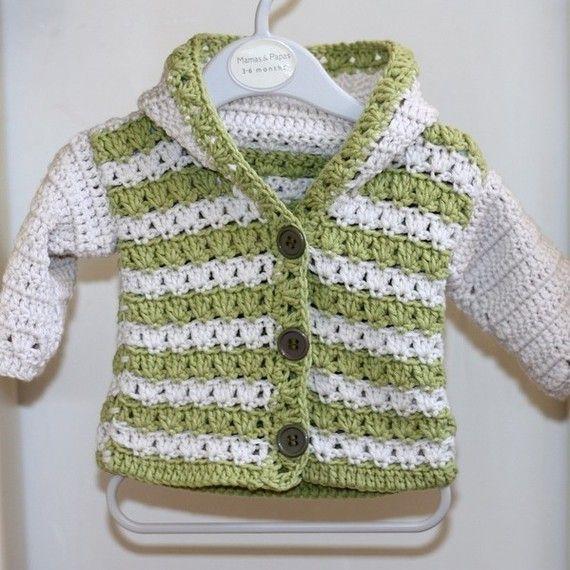 Hooded Baby Cardigan, crochet pattern