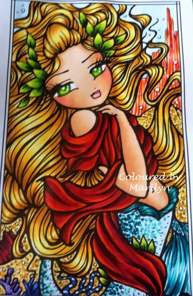 Coloured By Marilyn Jane Knott‎. Atlantis Mermaid from Enchanted Faces by Hannah Lynn x Coloured using Copics .